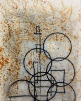 trace monotype print on rusted paper