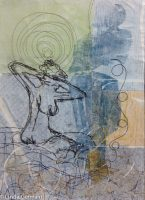 trace monoprint on tissue paper