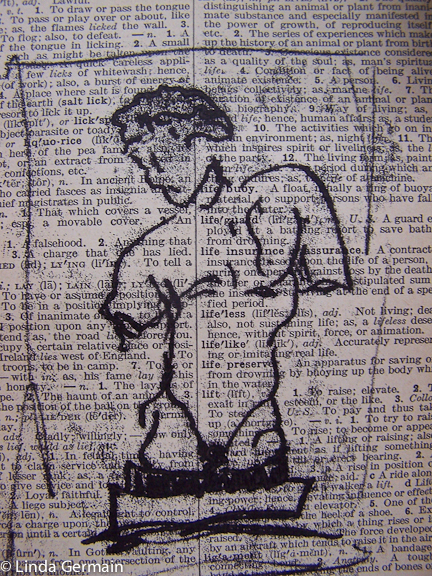 Trace monoprint on newsprint