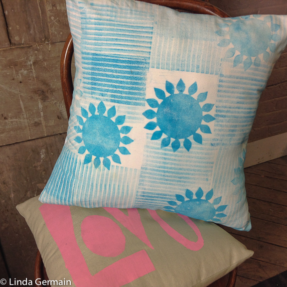 pillow sham sewn with monoprinted fabric