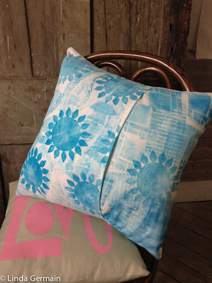 back side of pillow cover with monoprinted cloth