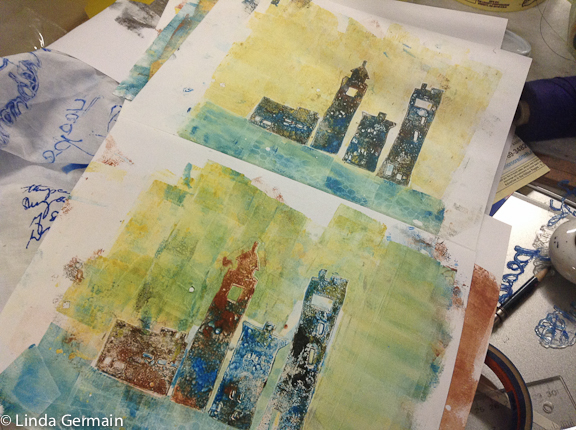 monotype print on the gel plate with stencils