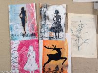 monotype prints with trace monoprinted marks