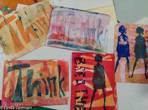 stencils used with the gelatin plate