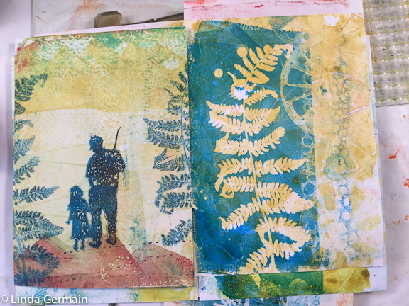 gel print with stencil and ferns