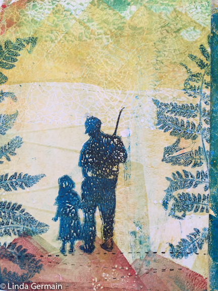 silhouette fishing print by linda germain
