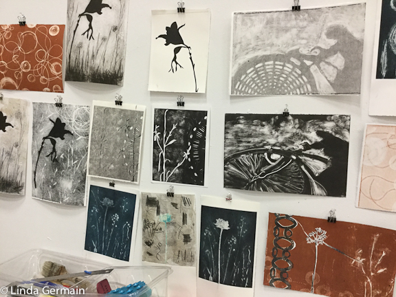Monotype prints with Akua ink by linda germain
