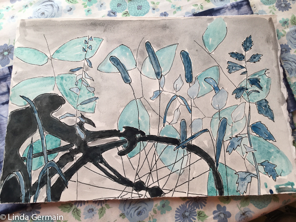 bike and shadow painting