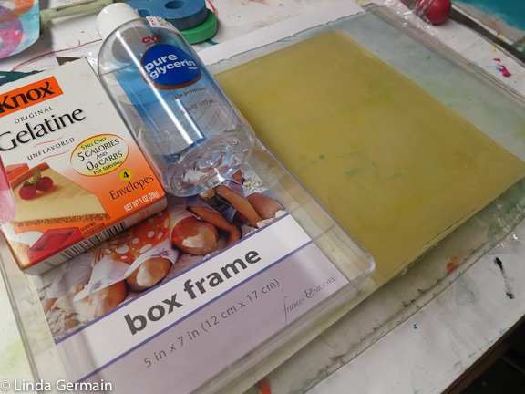 water gelatin and glycerin plate for printmaking