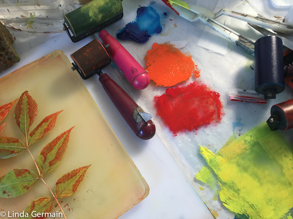 gelatin printmaking workspace