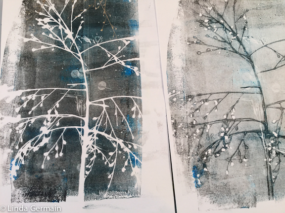 gelatin print made with dried grasses