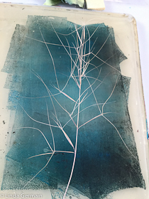 use grass or weeds as a delicate masking stencil with the gelatin plate