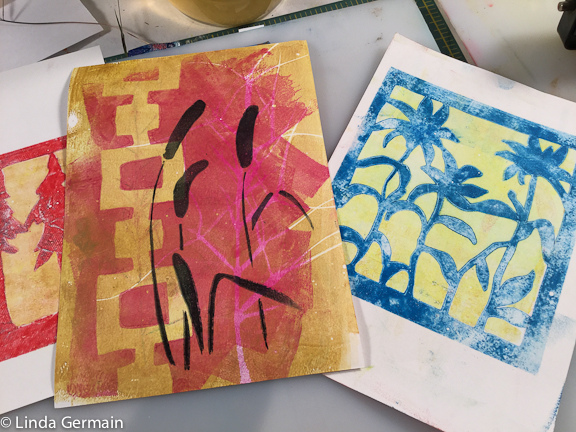 more gelatin plate monotype prints with tyvek stencils