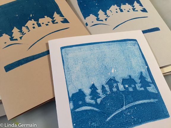 christmas card printed with Tyvek stencil and gelatin plate