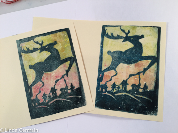 christmas card printed with the gelatin plate and tyvek stencils
