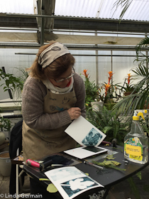 Linda Germain gelatin printing at Nunan's greenhouse