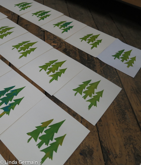 series of christmas cards  screen print in progress
