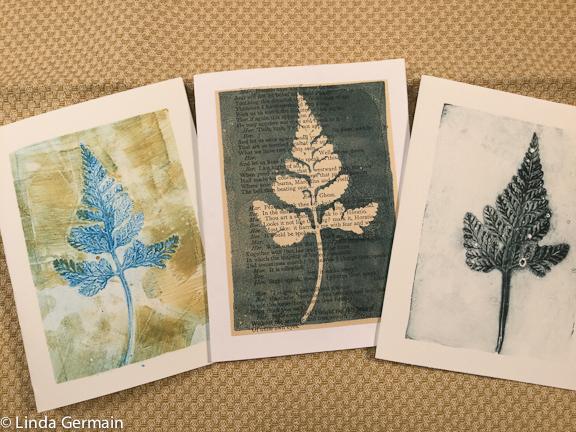 fern prints on the gelatin plate